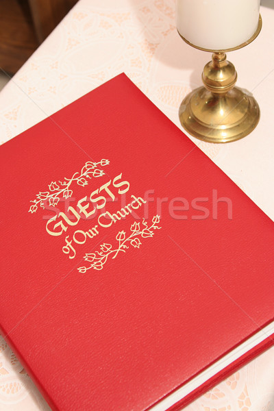 Kerk gast boek Rood tabel gesloten Stockfoto © lisafx