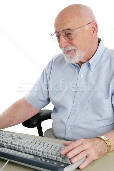 Senior homem computador trabalhando teclado educação Foto stock © lisafx