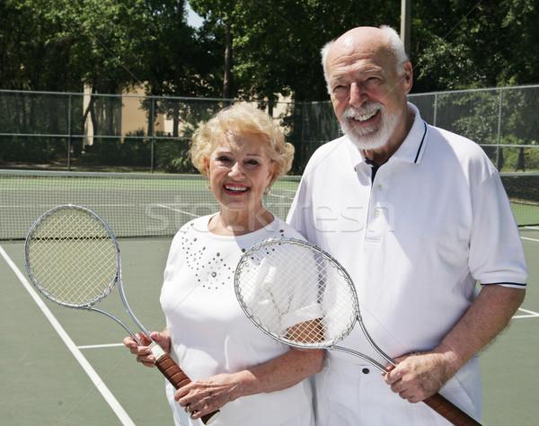 ストックフォト: 2 · テニス · アクティブ · 幸せ · 女性