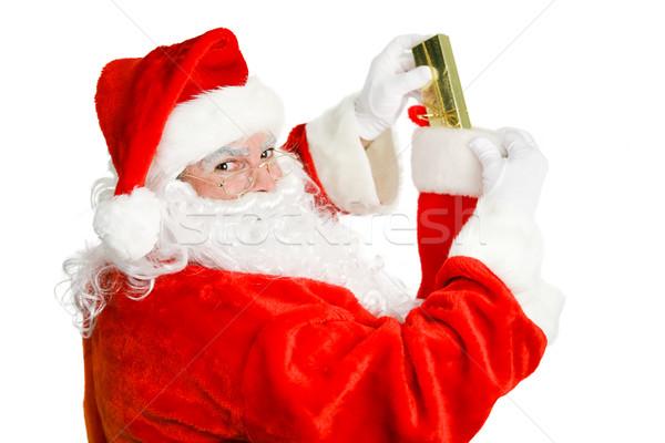 Mikulás karácsony harisnya töltelék izolált fehér Stock fotó © lisafx