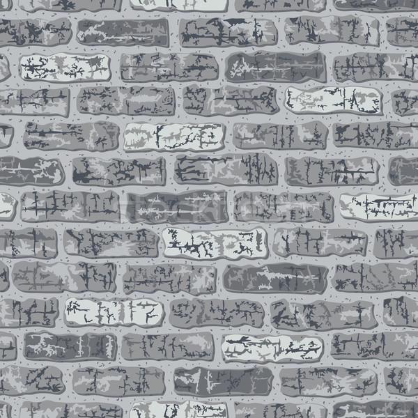 кирпичных шаблон серый бесшовный вектора кирпичная стена Сток-фото © Lisann