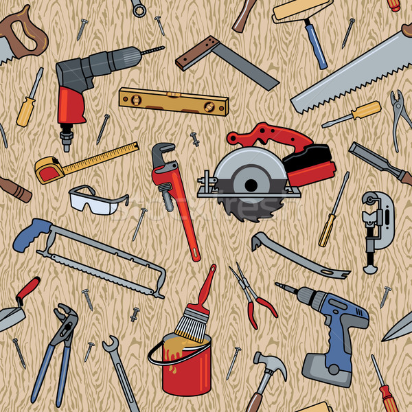 Tools on Wood Pattern Stock photo © Lisann