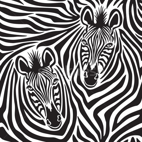 Zebra pár végtelen minta pár zebrák textúra Stock fotó © Lisann