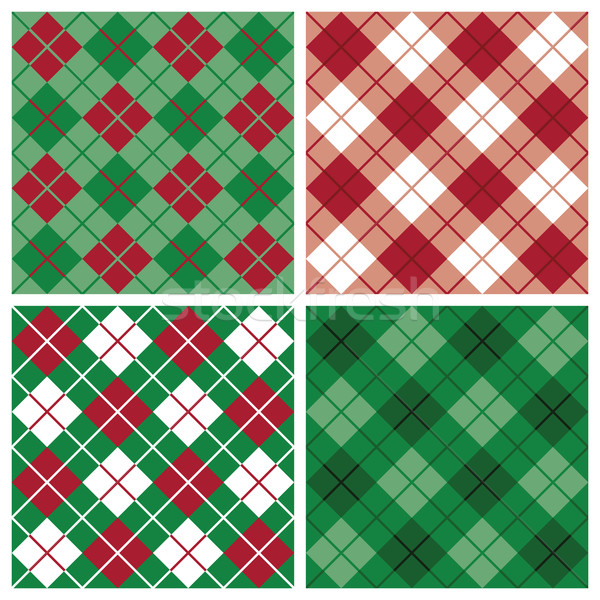 Argyle-Plaid Pattern in Red and Green Stock photo © Lisann