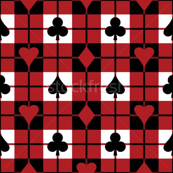 Kártya öltönyök kockás minta végtelenített vektor Stock fotó © Lisann