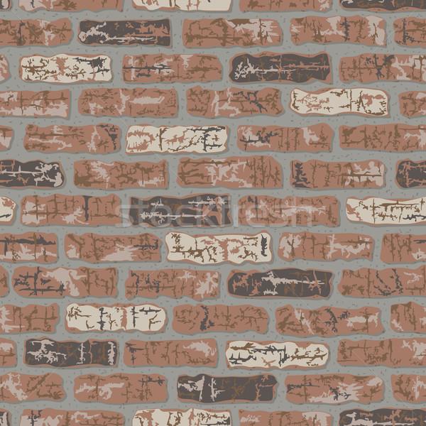 кирпичная стена вектора бесшовный шаблон строительство Сток-фото © Lisann