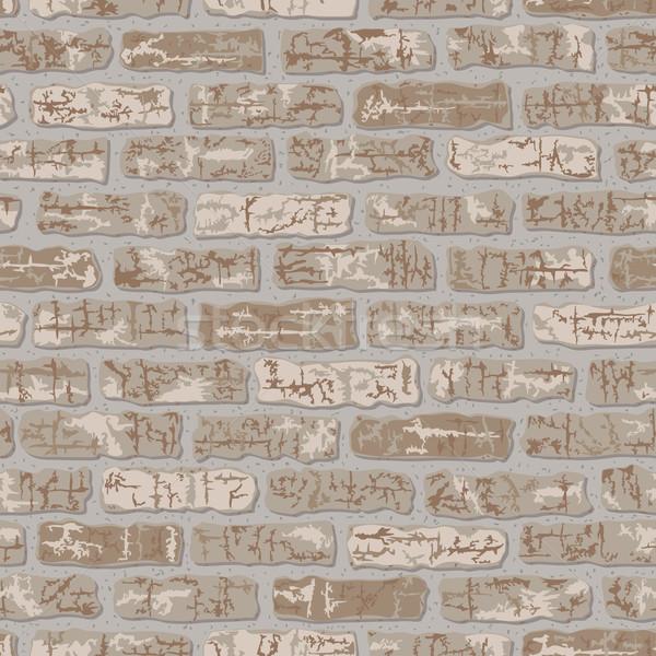 кирпичных шаблон бежевый классический вектора кирпичная стена Сток-фото © Lisann