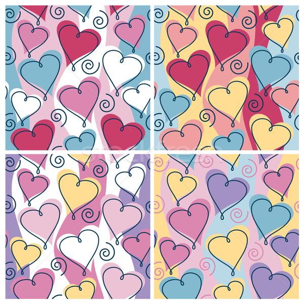 Lebeg szívek minta vektor végtelenített négy Stock fotó © Lisann