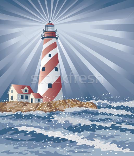 Stock photo: Candy Cane Lighthouse