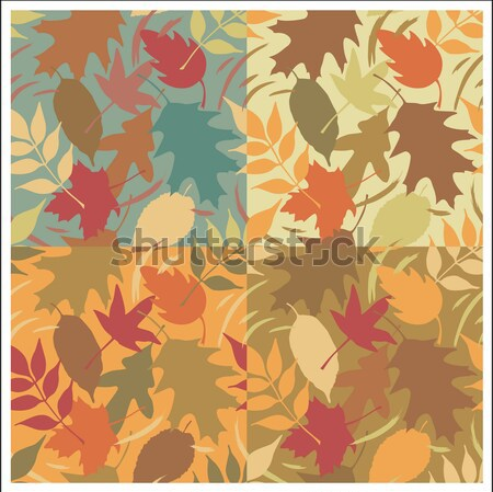Autumn Leaves Gradient Pattern with Yellow Background Stock photo © Lisann