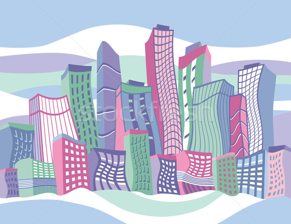 Wavy Cartoon City Stock photo © Lisann