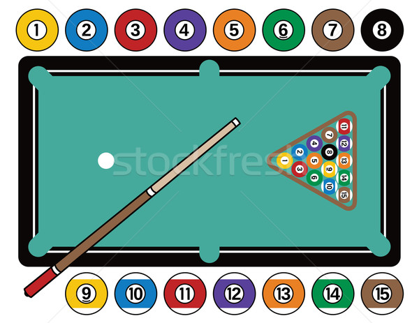 Fischer Pool Table ... illustration of a pool table with billiard balls, cue stick and rack