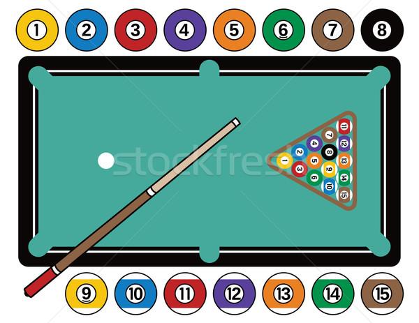 Biliárd asztal felszerlés biliárdasztal biliárd golyók Stock fotó © Lisann