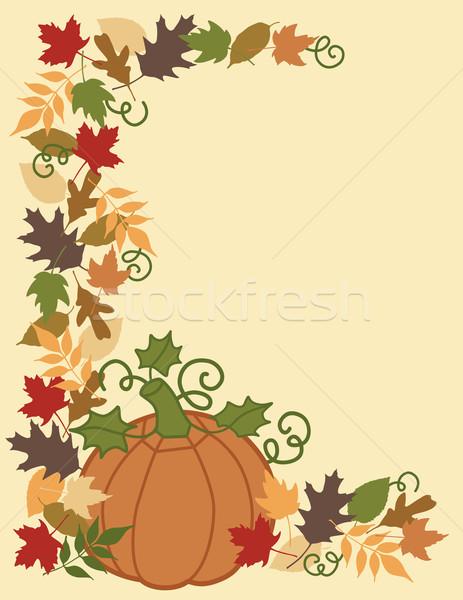Pumpkin and Leaves Border Stock photo © Lisann