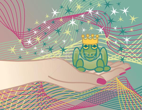 Rana príncipe ilustración sesión mano princesa Foto stock © Lisann