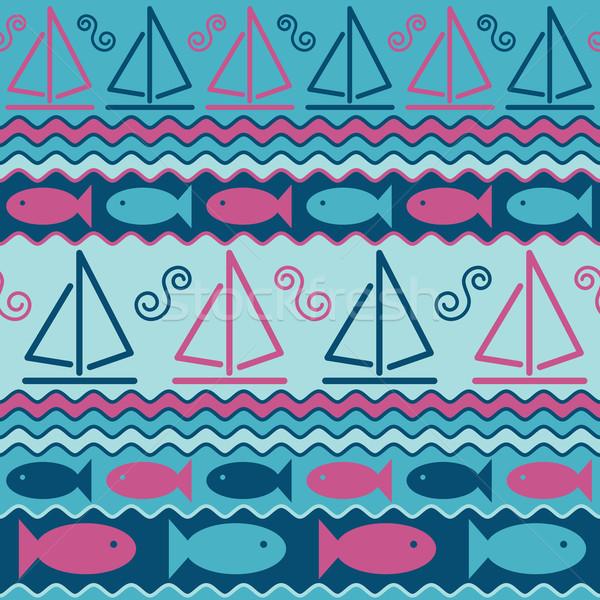 Vitorlások hal absztrakt végtelen minta stilizált víz Stock fotó © Lisann