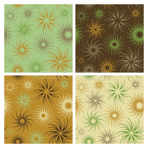 Fire Flower Pattern in Green and Brown Stock photo © Lisann