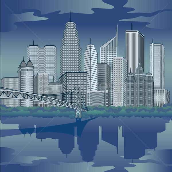 космополитический город иллюстрация современных бизнеса небе Сток-фото © Lisann
