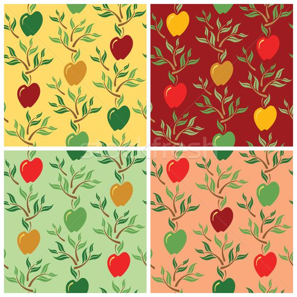 ストックフォト: リンゴ · パターン · 定型化された · リンゴ · 葉