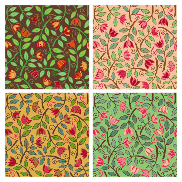 Modello di fiore senza soluzione di continuità floreale pattern quattro fiore Foto d'archivio © Lisann