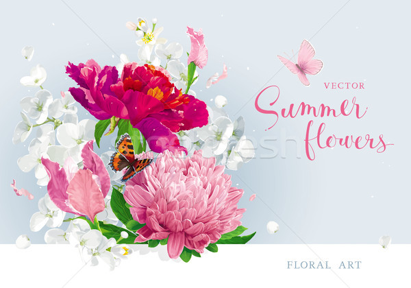 Red pink summer flowers bouquet Stock photo © LisaShu