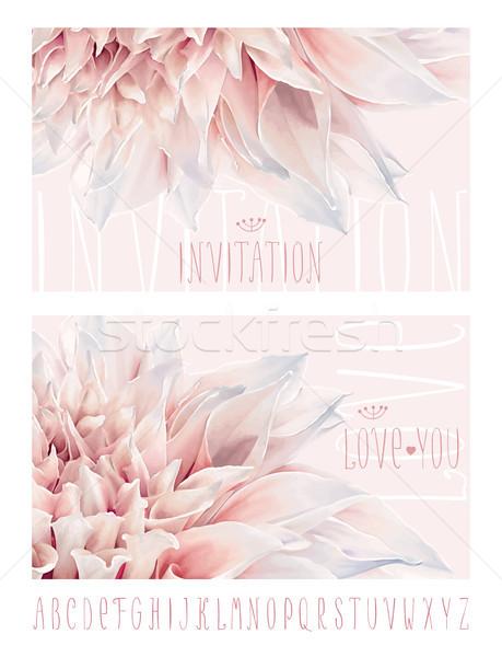Dahlia groet kaarten vector bloem uitnodiging Stockfoto © LisaShu
