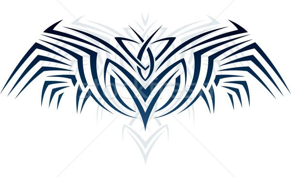 Vleugels tattoo stijl abstract ornament vorm Stockfoto © LisaShu