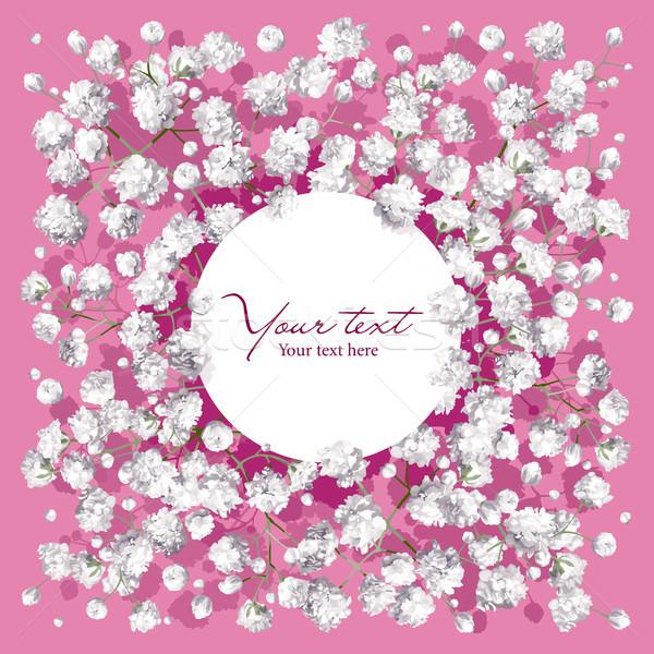 Stockfoto: Weinig · witte · bloemen · romantische · bloem · uitnodiging