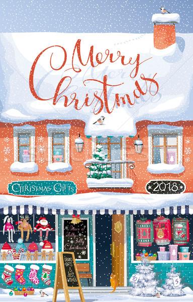 Karácsony piac vektor üdvözlőlap aranyos tél Stock fotó © LisaShu