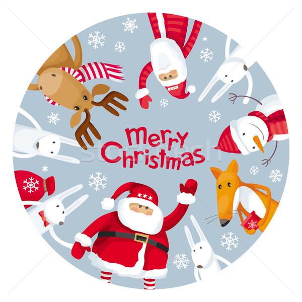 Vrolijk christmas plaat vector wenskaart kerstman Stockfoto © LisaShu