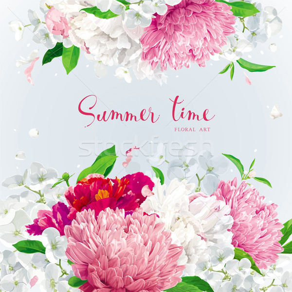 Pink, red and white summer flowers background Stock photo © LisaShu