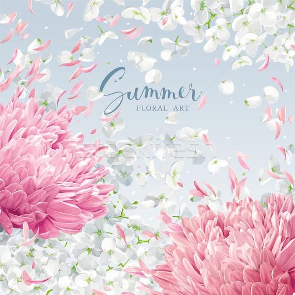 Flying petals vector background Stock photo © LisaShu