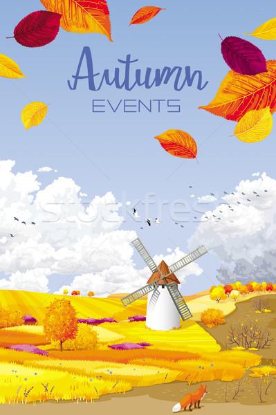 Autumn vector landscape banner Stock photo © LisaShu