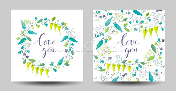 Set of the two flowers and herbs vector cards Stock photo © LisaShu