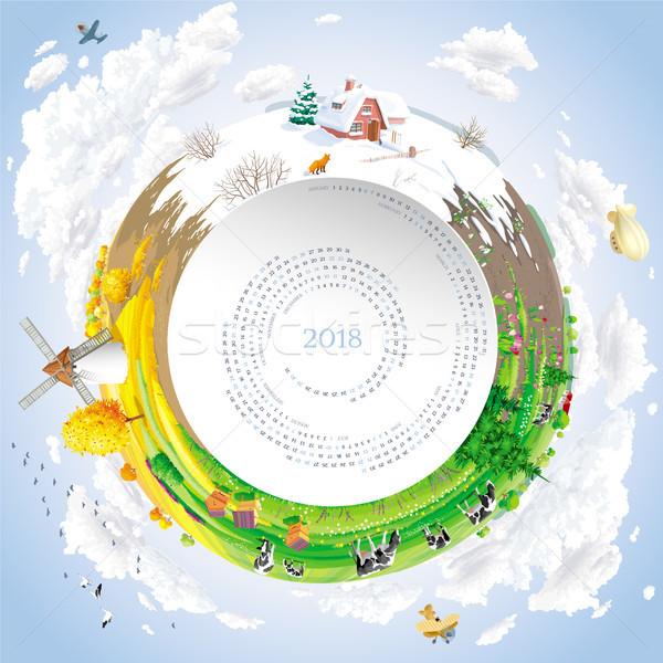 Vektor naptár év hálózat négy évszak vidéki táj Stock fotó © LisaShu
