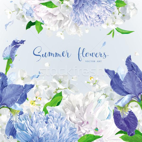 Blauw zomerbloemen zomer vintage vector Stockfoto © LisaShu