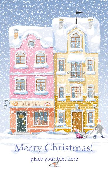 Winter stadsgezicht oude historisch huizen winkels Stockfoto © LisaShu