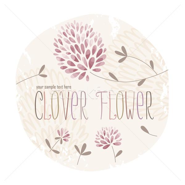 Yonca çiçek daire etiket çiçekler çim Stok fotoğraf © LisaShu
