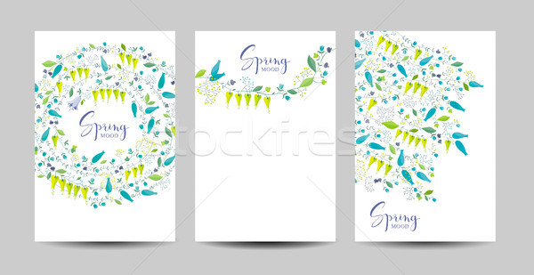 Spring flowers and herbs vector background set Stock photo © LisaShu