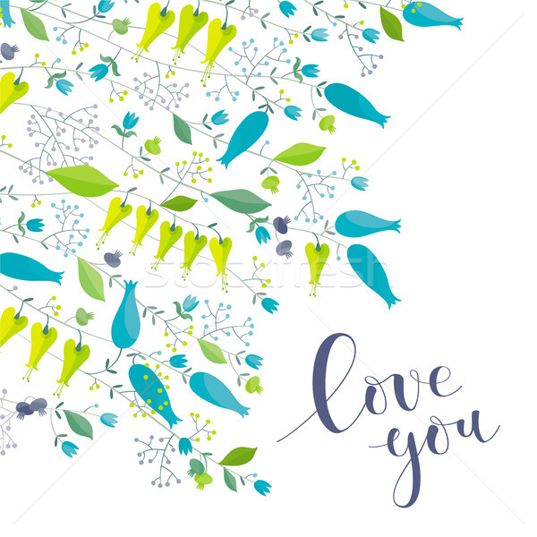 Flowers and herbs vector greeting card 'Love you' Stock photo © LisaShu