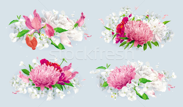 Red pink summer flowers bouquet set Stock photo © LisaShu