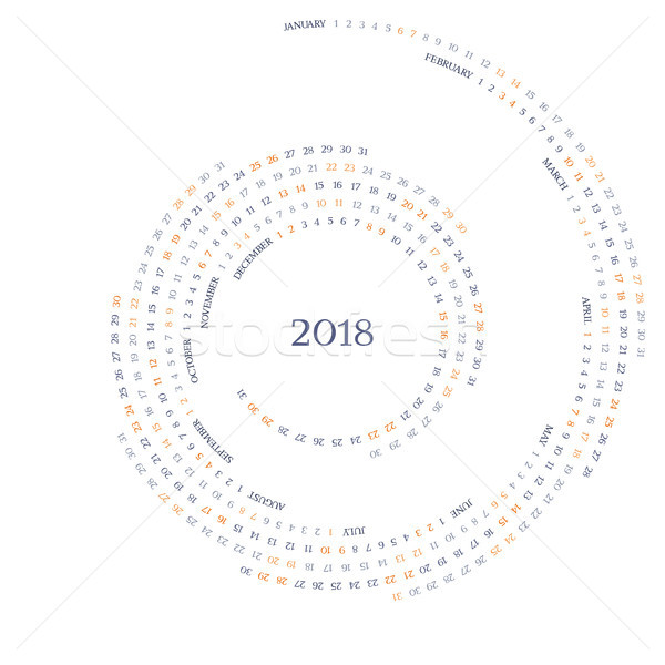 Twirled vector calendar grid for 2018 year Stock photo © LisaShu