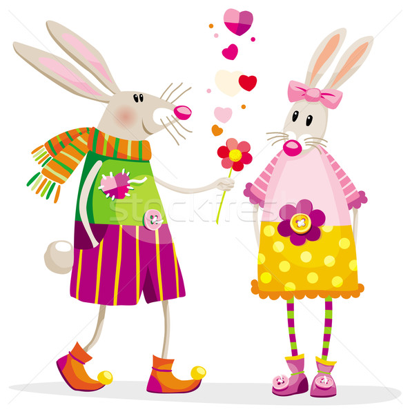 Liefde aanraken romantische situatie bloem meisje Stockfoto © LisaShu