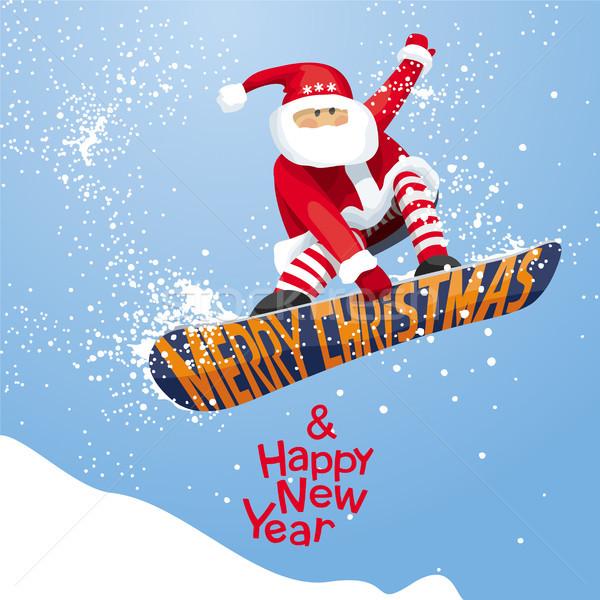 Mikulás vidám karácsony boldog új évet vektor karácsonyi üdvözlet Stock fotó © LisaShu