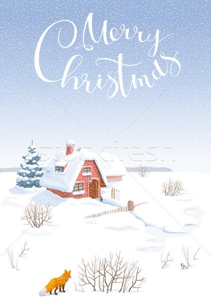 Winter landschap vector landelijk klein Stockfoto © LisaShu