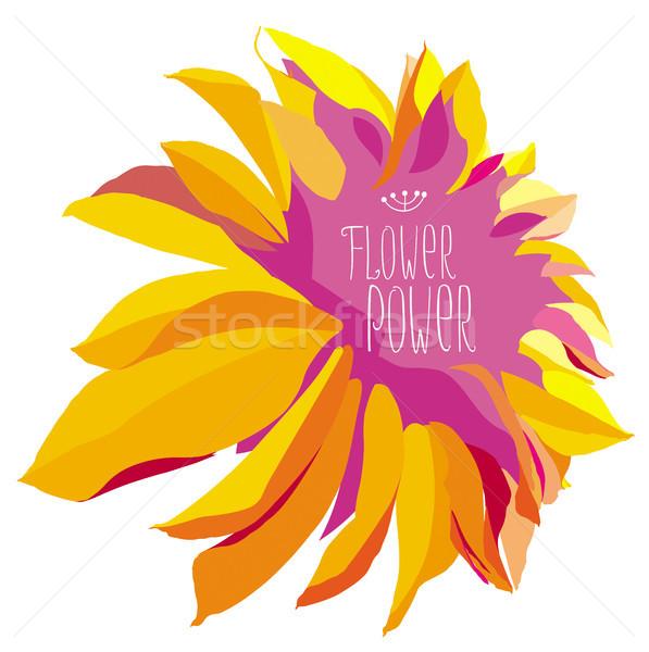 Foto stock: Flower · power · vetor · amarelo · dália · flor · branco