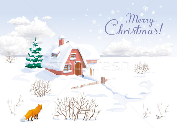 Winter landscape Christmas greeting card Stock photo © LisaShu