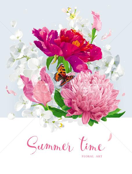 Rood roze zomerbloemen boeket vintage vector Stockfoto © LisaShu