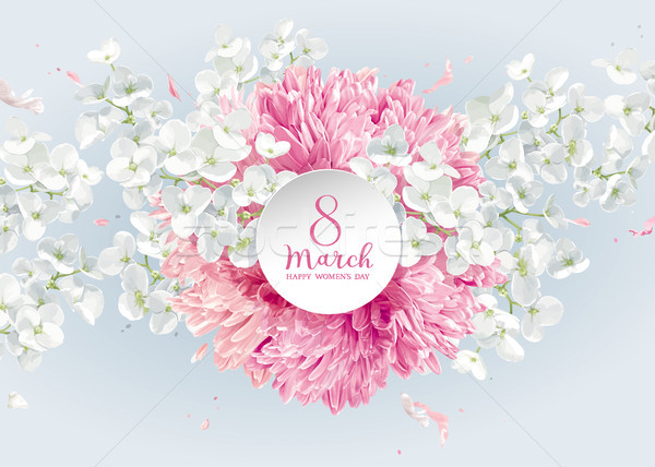 Chrysanthemums and Apple blossom for 8 March vector greeting car Stock photo © LisaShu