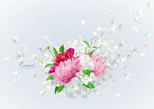 Vector floral bouquet with flying petals Stock photo © LisaShu